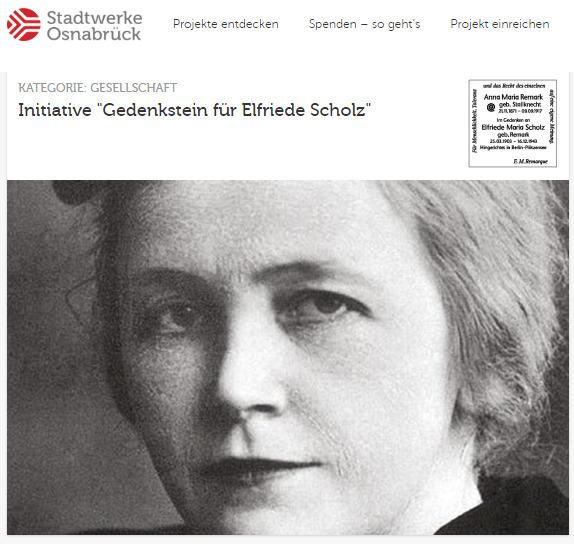 Gedenkstein für Elfriede Scholz: Spenden erbeten!